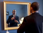 Obama makes sure his tie is straight. by Pete Souza